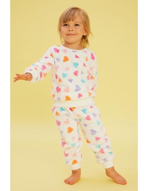 Ciepła piżama dziewczęca dwuczęściowa w serduszka