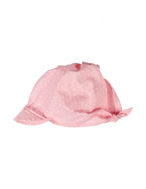 Chustka z daszkiem na głowę- różowa