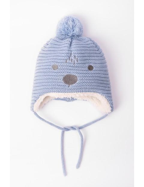 Czapka zimowa dla niemowlaka- wiązana pod szyją