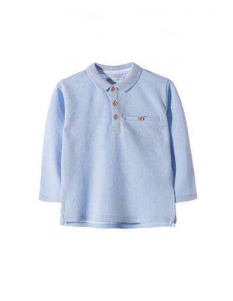 Bluzka chłopięca z kołnierzykiem- niebieska