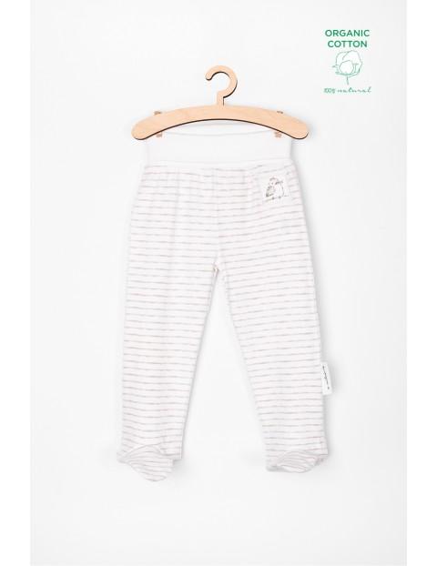 Półśpiochy niemowlęce z bawełny organicznej- białe w paski