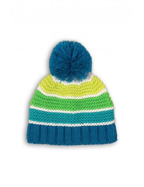 Czapka zimowa chłopięca niebiesko-zielona