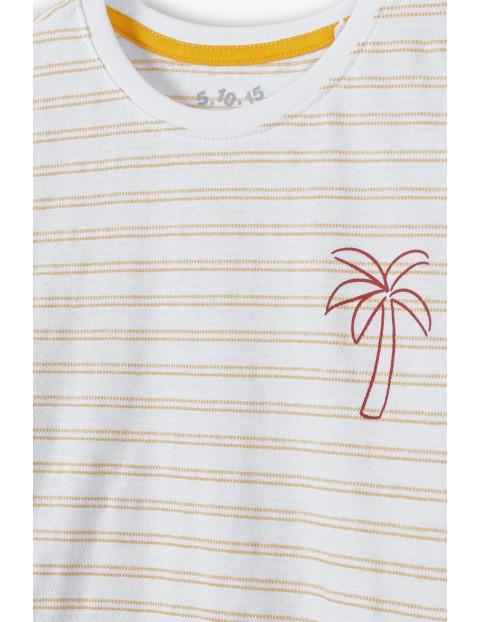 T-shirt chłopięcy w paski z palmą