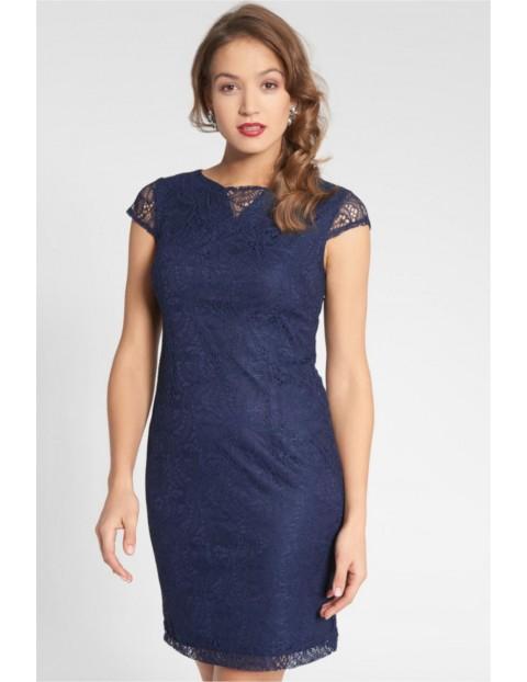 Sukienka z koronkową warstwą - granatowa