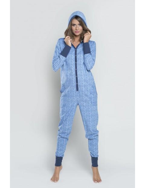 Bawełniany kombinezon Oslo długi rękaw, długie spodnie - niebieski