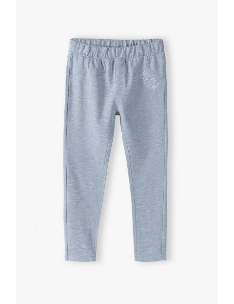 Spodnie dziewczęce z kieszeniami Meow - szare