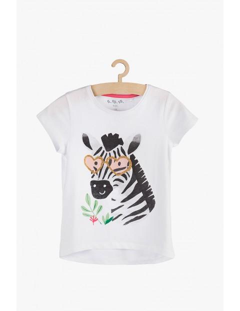 T-shirt dziewczęcy biały -Zebra