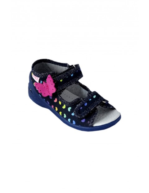Sandałki dziewczęce z różowym motylkiem - granatowe