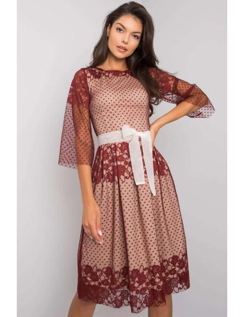 Bordowa elegancka sukienka damska