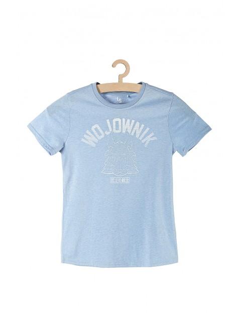 T-shirt chłopięcy niebieski z napisem Wojownik