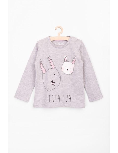 Bluzka dziewczęca z królikami i napisem Tata i ja
