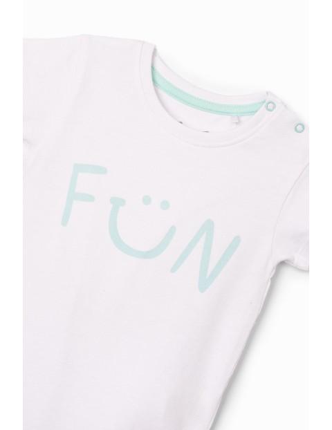 Białe body niemowlęce z napisem- Fun