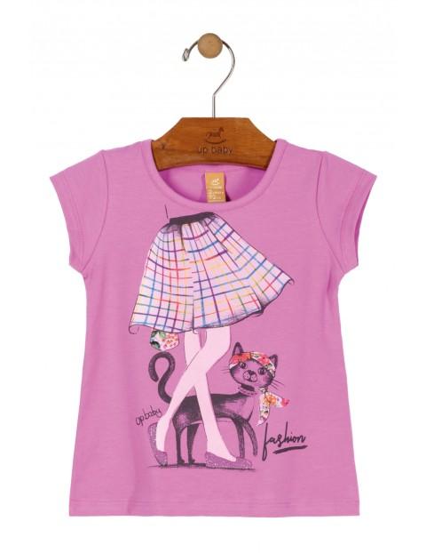 T-Shirt dziewczęcy różowy z kotkiem