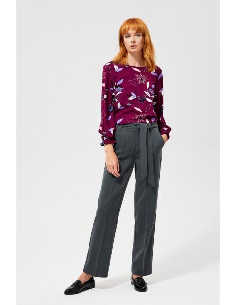 Spodnie damskie na kant z wiżaniem w pasie- szare