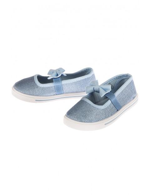 Buty dziewczęce niebieskie z kokardkami