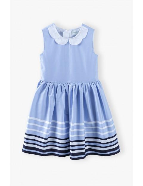 Elegancka sukienka w paski z kołnierzykiem - niebieska