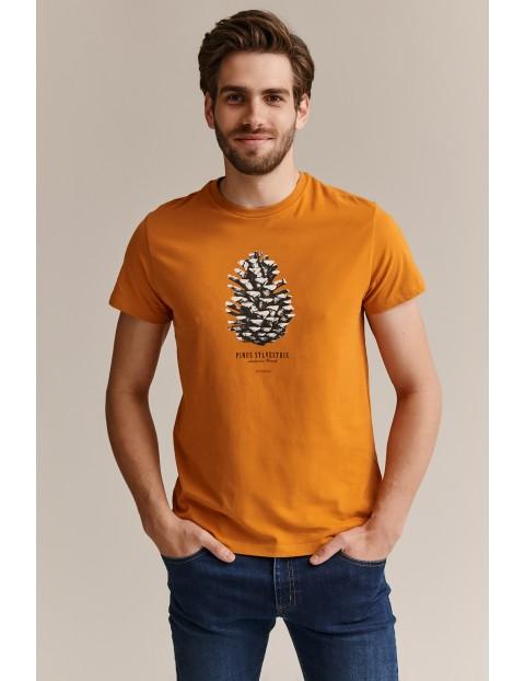 Bawełniany t-shirt męski z szyszką - pomarańczowy