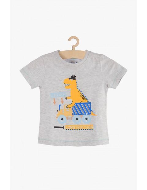 T-shirt chłopięcy szary z dinozaurem