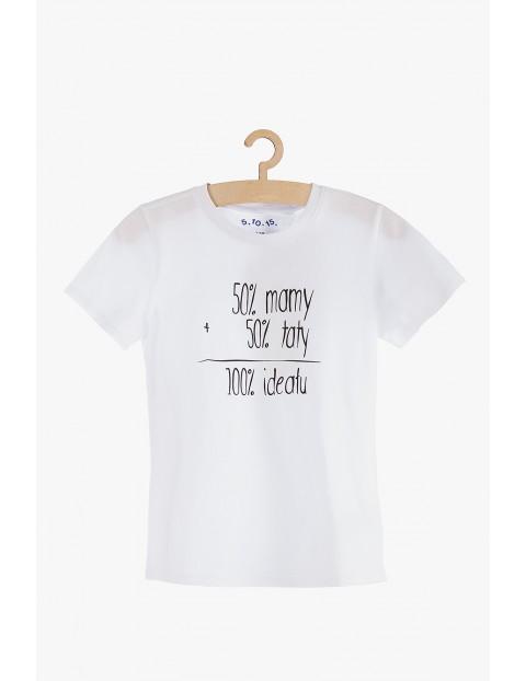 """T-shirt chłopięcy bawełniany z polskimi napisami """"50% mamy, 50% taty..."""""""