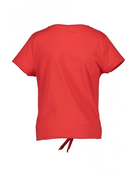Koszulka dziewczęca czerwona z napisem i dekoracyjnym wiązaniem
