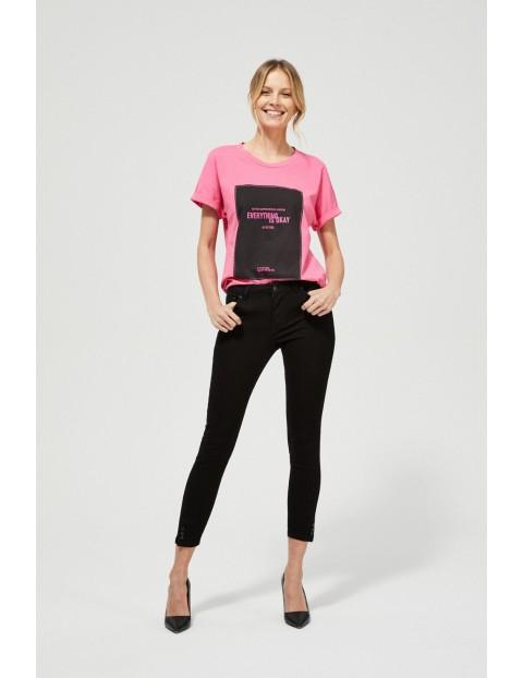 Jeansy skinny z guzikami czarne