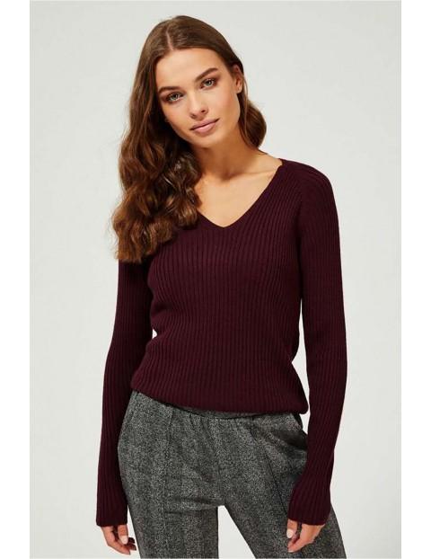 Sweter damski z dekoltem w serek - bordowy