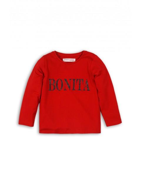 Bluzka dziewczęca czerwona z brokatowym napisem