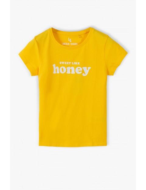 Żółty bawełniany t- shirt dziewczęcy z napisem - Sweet like honey