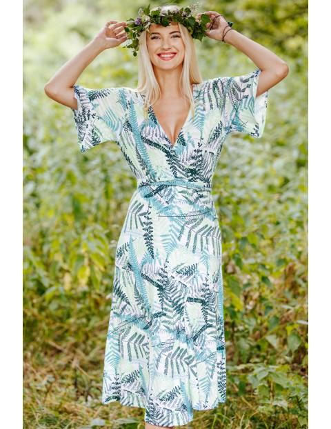 Kopertowa sukienka w liście- 2 opcje noszenia
