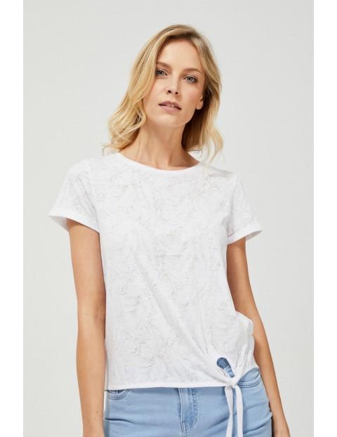 Biały t-shirt  damski na krótki rękaw z wiązaniem