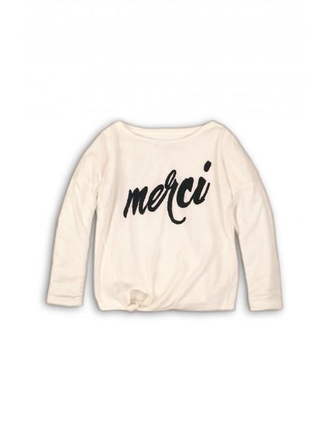 Bluzka dziewczęca z napisem - biała