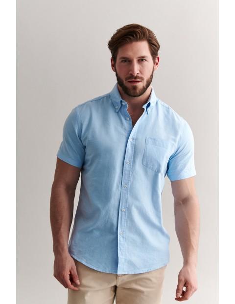 Bawełniana koszula męska z krótkim rękawem - niebieska
