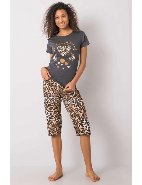 Bawełniana grafitowa damska piżama we wzory