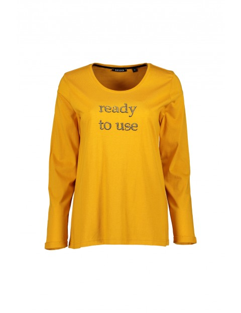 Dzianinowa koszulka damska z nadrukiem - żółta