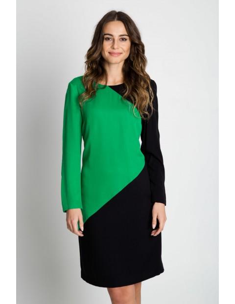 Zielono-czarna sukienka damska z długim rękawem