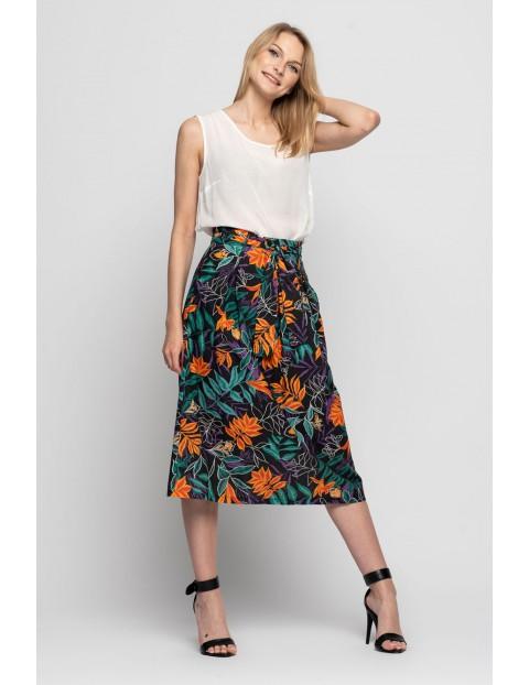 Spódnica damska w kolorowe kwiaty