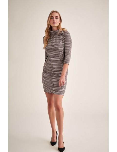 Sukienka damska we wzory - beżowa