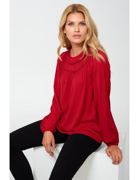 Bluzka damska z długim rękawem - czerwona