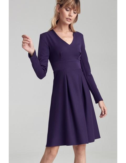 Sukienka z dwoma kontrafałdami - fioletowa