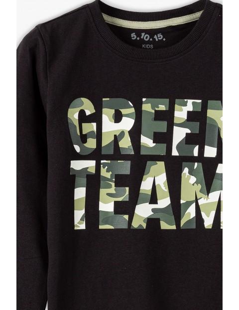 Bawełniana bluzka chłopięca czarna z napisem moro - Green Team