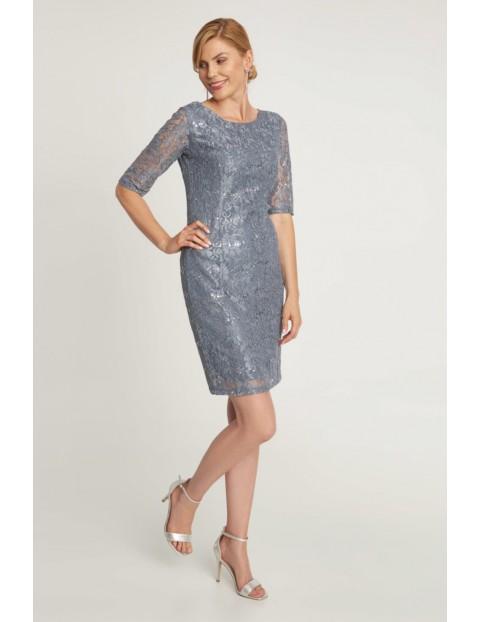 Koronkowa sukienka o ołówkowym fasonie - szara