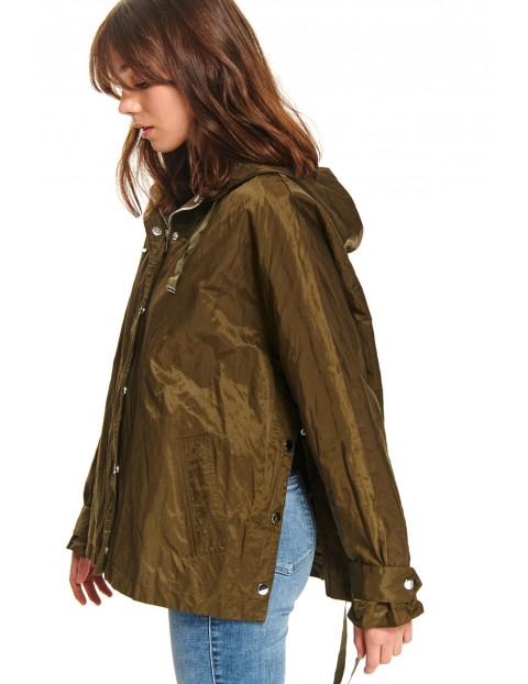 Luźna zielona kurtka damska