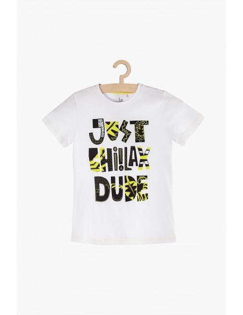 Koszulka chłopięca biała z napisami