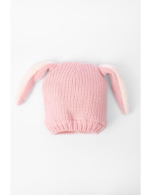 Czapka dla niemowlaka- różowa z uszami