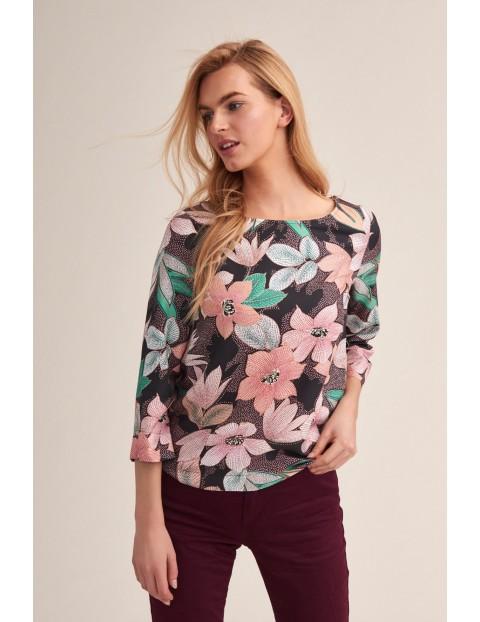 Bluzka tkaninowa w kolorowe kwiaty