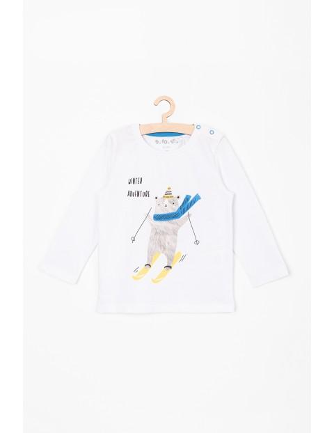 Bluzka bawełniana dla niemowlaka z misiem na nartach
