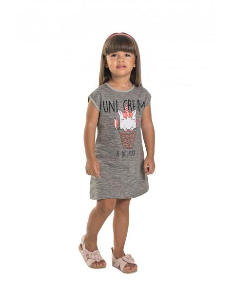 Tunika dziecięca z jednorożcem - szara