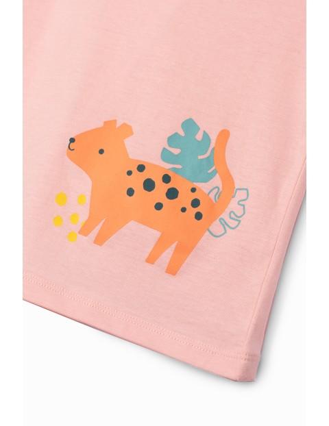 Bluzka dziewczęca ze zwierzakiem - różowe
