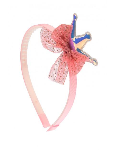 Opaska do włosów- różowa z koroną