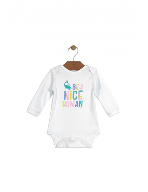 Body niemowlęce białe z dinozaurem i napisem- Be a nice human